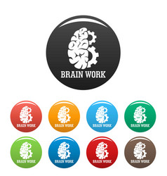 Hard brain work icons set color vector