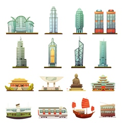Hong Kong Landmarks Transportation Icons Set vector
