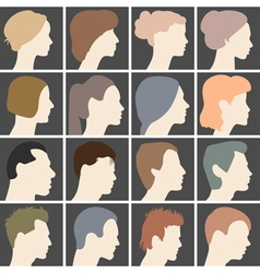 Human profiles with different hairstyles vector image