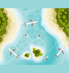 Islands and planes top view vector