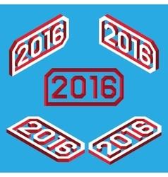 Isometric 2016 font vector image