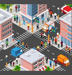Isometric people walking on street vector