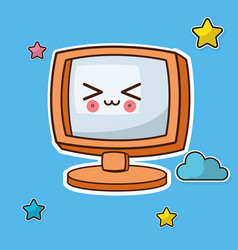 kawaii screen computer image vector image