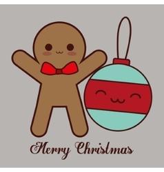 Kawaii sphere and coockie of Christmas season vector