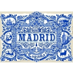 Madrid Azulejos 01 Vintage 2D vector image