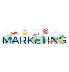 marketing word cartoon flat vector image