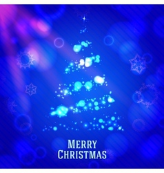 Merry christmas tree made from shining bokeh on vector image vector image