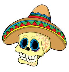 mexican skull in sombrero vector image