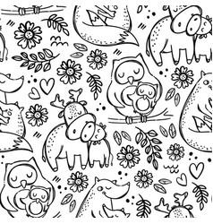 mom kids love cute animal seamless pattern vector image