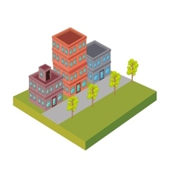 Nice neighborhood street icon vector
