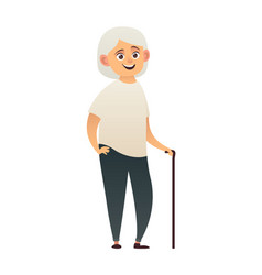 old lady nice grandmother smiles isolated on vector image