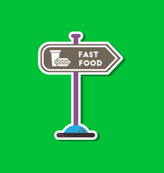 Paper sticker on stylish background fast food sign vector