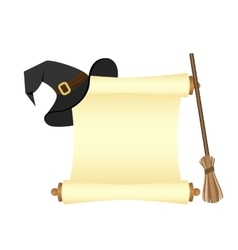 Parchment and hat witch vector