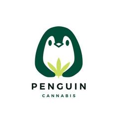 Penguin cannabis logo icon vector
