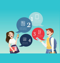 People using mobile and books with education icons vector