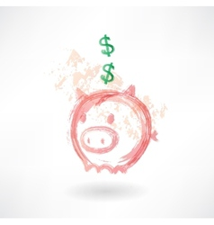 Piggy moneybox grunge icon vector