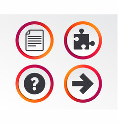 question mark and puzzle signs file arrow vector image