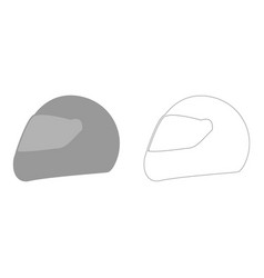 Racing helmet the grey set icon vector