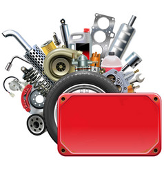 Red frame with car parts vector