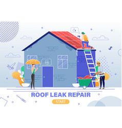Roleaking repair service flat website vector