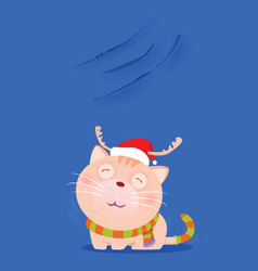 Santa cat show scratch nail on the wall vector