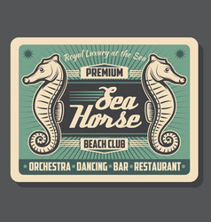 Sea horse beach club retro poster vector