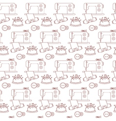 Seamless pattern of sewing tools icons on white vector