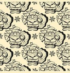 seamless pattern santa hand drawn sketch vector image