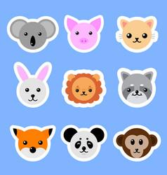 set animals stickers cat rabbit pig lion panda vector image