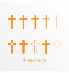 Set christian cross icon vector