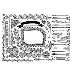 set doodle floral hand drawn border and frame vector image