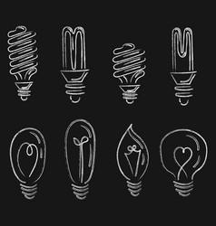set light bulbs collection stylized energy vector image