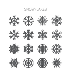 set simple monochromatic snowflake icons vector image