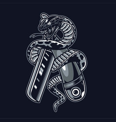 Snake is wrapped around straight razor vector