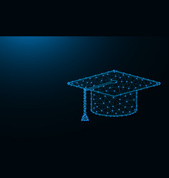 Square academic cap made from points and lines on vector