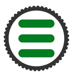 Stack flat green and gray colors round stamp icon vector