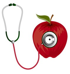 Stethoscope and red apple icon vector