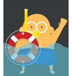 Swimmer with lifebuoy vector