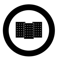 three building the black color icon in circle or vector image