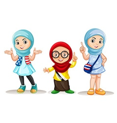 Three muslim girls with happy face vector image