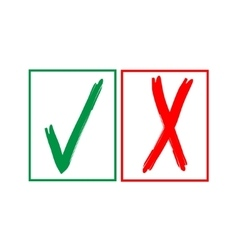 Tick and cross sign in color square isolated on vector