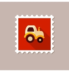Tractor flat stamp with long shadow vector image