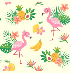 Tropical flamingo bird pattern vector