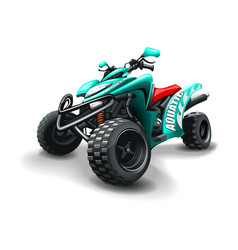 Turquoise colour quad bike with aquatic vector