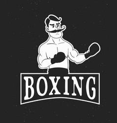 Vintage boxer logo vector