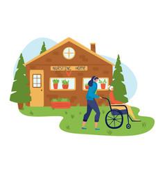 Volunteers help people inscription nursing home vector