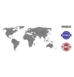Welcome composition of halftone map of world and vector