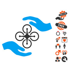 air copter care hands icon with dating bonus vector image vector image