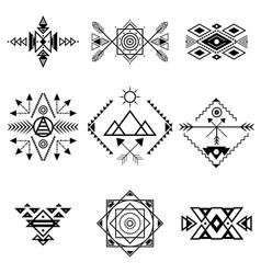 aztec style ornament black thin line icon set vector image vector image