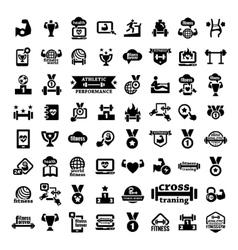 big fitness icons set vector image